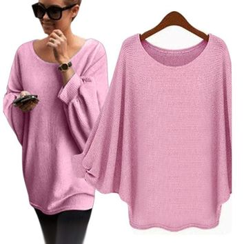 Oversized Batwing Knitted Loose Sweater  Solid color Pullover Women