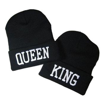 DCCKLG2 King Queen  Hats For Couple Hip Hop Warm Knitted Cap Skullie Beanies