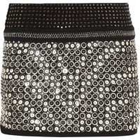 Roberto Cavalli | Embellished leather and suede mini skirt | NET-A-PORTER.COM