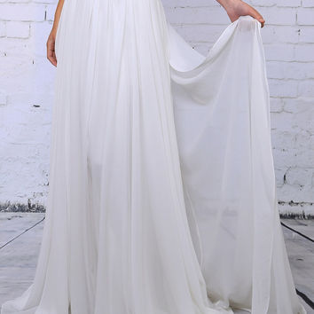 Chiffon Bridal Skirt with detachable train. Two piece wedding dress. Beach wedding skirt. Vintage wedding skirt. Silky soft chiffon skirt.