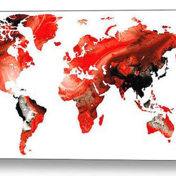 World Map Art Print from Painting White Red Black Travel Earth Maps Abstract Colorful CANVAS Ready To Hang Large Artwork FREE Shipping S/H