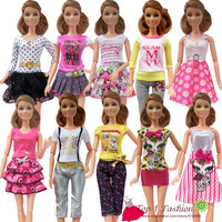new free shipping 5sets=clothes pants or mini skirt set fashion outfit Clothes outwear suit set coat for barbie doll