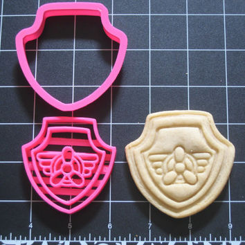Paw Patrol Inspired Cookie Cutter Stamp Set All 6 shields Full Collection Pink BPA FREE
