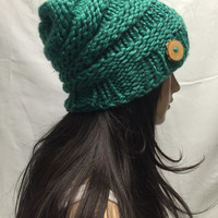 Knit Slouchy Hat Beanie Beehive Ocean Blue With Wood Button Warm And Cozy