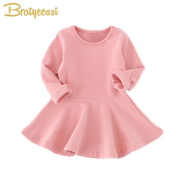 Casual Cotton Baby Dress Long Sleeve Solid A Line Pleated Infant Girl Dresses Princess Baby Clothes