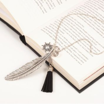 Silver Charm & Feather Tassel Necklace