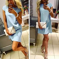 Womens Dresses  Short Sleeve Casual Mini Dresses Solid O-neck Elegant Sexy Party Dress Plus Size