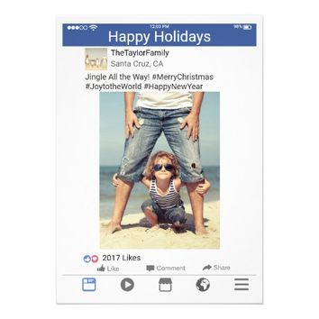 Facebook Photo Holiday Christmas Card Blue