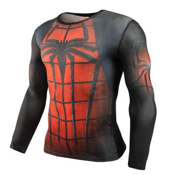 T-shirts Men Brand Compression Shirt Long Sleeve T Shirt Fitness Spiderman 3D Print Lycra Clothing Crossfit Casual Male Tops