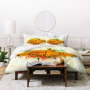 Msimioni Orange Butterfly Duvet Cover