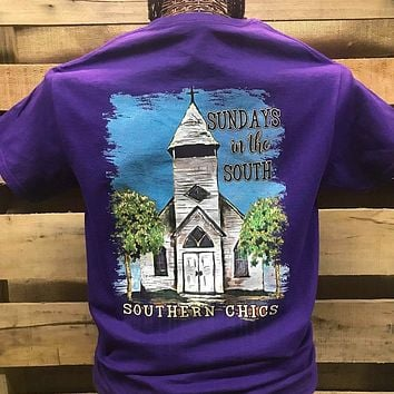 Southern Chics Sundays in the South Church Christian Girlie Bright T Shirt