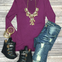Long Sleeve Basic V-Neck Tee: Plum