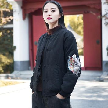 Trendy Johnature 2018 Winter New Women Embroidery Jackets Coat Cotton Linen Button Vintage Long Sleeve Chinese Style Women Warm Coats AT_94_13