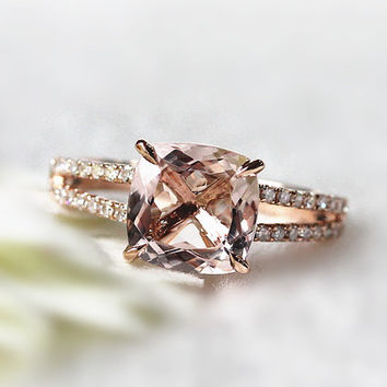 Art Deco  8x8mm Cushion Cut VS Morganite Ring 4 Claw Prong Split Shank Pave Diamonds Engagement Ring/ Wedding Ring/ Anniversary Ring