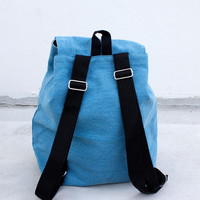 Canvas light blue design small backpack - canvas back pack - schoolbag in canvas - Canvas backpack - Helgenfjord backpack