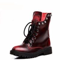 Studded Cow Leather Fashion Boots