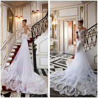 2016 New Design Wedding Dress Sexy Deep V-Neck Open Back Bride Gowns With Appliques White / Ivory Court Train Wedding Dress