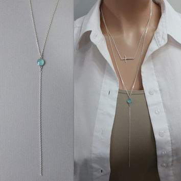 Chalcedony Layering Necklace on Sterling Silver, Sterling Silver Layering Necklace, Chalcedony Necklace