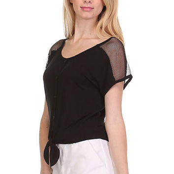 Short Sleeve Tie Front Top W/ Sheer Yoke