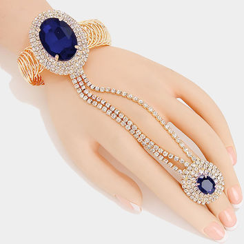 """ Ravishing ""  Oval Navy Montana Blue Crystal Rhinestone Bracelet &  Ring Combo On gold Tone"