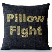 Premium Gray Linen Cushion Cover With Pillow Fight Decorative Throw Pillow Cover In Gold Sequin