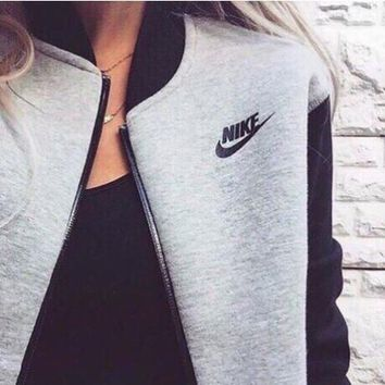 fashion women nike zip cardigan jacket coat grey