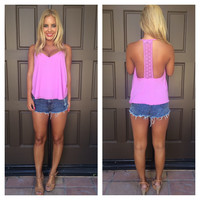 Star-Crossed Lovers Crochet T-Back Tank - LAVENDER