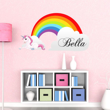 Girls Name Rainbow Wall Decal- by Decor Designs Decals, Unicorn Decals, Rainbow Decals, Nursery Decals, Playroom Decals, Girls Decals, Rainbow Decor, Rainbow JJ39