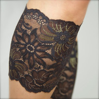 Black Floral Lace Boot Cuffs Topper