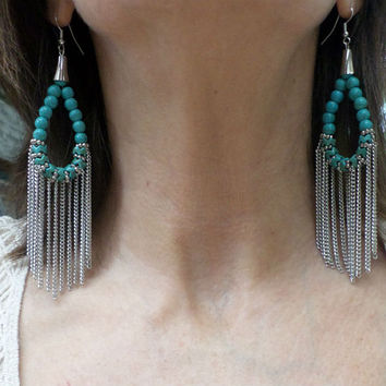 Tribal Turquoise Beaded Loop Silver Chain Tassel Earrings - Boho Turquoise Beaded Silver Chain Fringe Chandelier Drop Dangle Earrings
