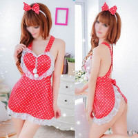Women Sexy Lingerie Cute Maids Apron Cross-belt Backless Night Sleepwear Free size = 1705537412