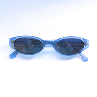 Vintage 90s Lucite Blue Sunglasses / Oval Transparent Sunnies w Black tone Frame -NOS Dead stock - Seapunk/Grunge/Acid House/Rave Culture