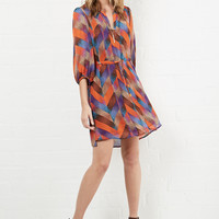DailyLook: Harvey Tie Waist Shift Dress in Multi-colored S - L