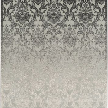 Priyanka Medallion and Damask Area Rug Black, Gray