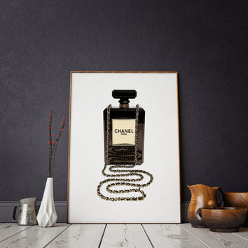 Fashionista COCO Mademoiselle perfume Bottle print Coco chanel bottle coco chanel print chanel perfume Chanel Paris Fashion Quote Wall art