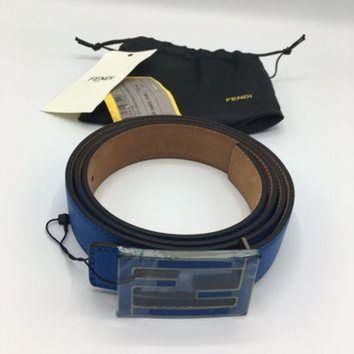 VONE54Q New Mens Fendi Royal Blue Belt 110/44 100% Authentic Or Money Back Guaranteed