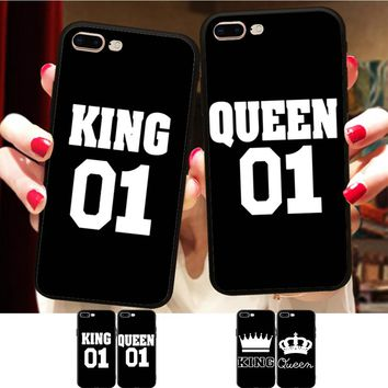 Minason BFF King Queen 01 Couple Matching Case Cover For iPhone X 8 5S XR XS Max 6 6S 7 Plus Best Friends Silicone Phone Coque