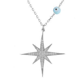 Starburst Opalite Evil Eye Necklace Sterling Silver