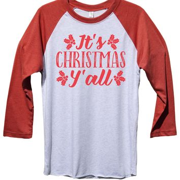 It's Christmas Y' All Funny Christmas - Unisex Baseball Tee Mens And Womens