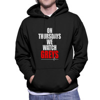 On Thursdays We Watch Greys on Front Greys Anatomy Unisex Pullover Hoodie