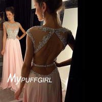 Pink Beaded Illusion Cap Sleeves Prom Dress With Back Out And Cut Out Waist