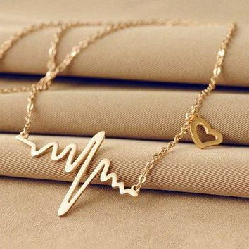 Name Heartbeat Pendant Necklace - Champagne Gold