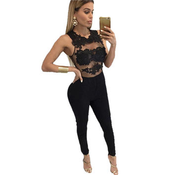 Plus Size Lace Solid Sexy Rompers Womens lace crochet Bodycon Jumpsuit patchwork Playsuit For Women Club Wear