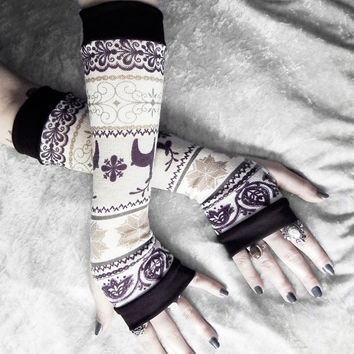Winter Retreat Arm Warmers - Fair Isle Plum Purple Taupe Cream Sweater Knit  - Nordic Snow Flakes & Deer - Bohemian Cycling Gothic Goth Ski