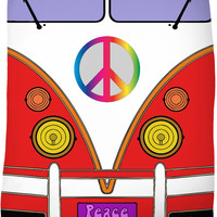 Peace and love in red color, hipster wagon, bus fleece blanket, retro