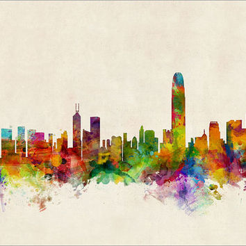 Hong Kong Skyline, Art Print - 12x16 up to 24x36 inch (324)