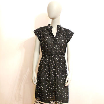Light Vintage Dress, Black and White See Through Dress With Flowers, V-neck, Short Sleeves