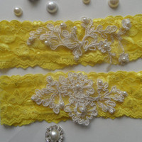 wedding garters, bridal garters, lace garters, bride, wedding accessory,yellow garters, FREE SHIP