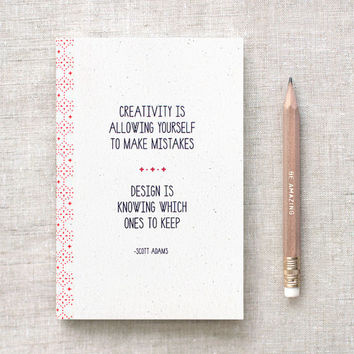 Recycled Mini Notebook with Gold Foil Pencil, Journal - Creativity Quote - Eco Friendly