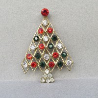 Christmas Tree Pin, Vintage Modern Gold Tone with BIG Rhinestones
